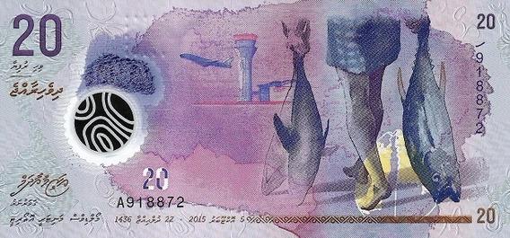 Grr-billete De Islas Maldivas 20 Rufiyya 2015 - Plástico
