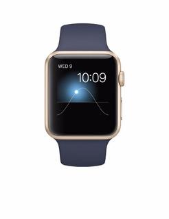 Apple Watch Sport Gold Aluminum Case Con Banda En Azul 42 Mm