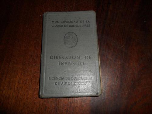 Antiguo Carnet Libreta Registro Licencia Transito Ciudad