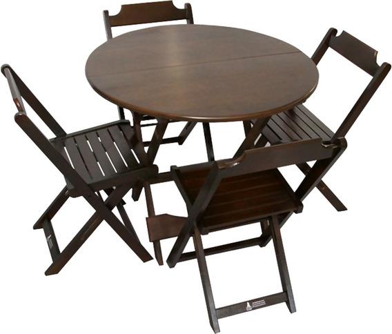 Mesa Dobrável Redonda 0,90 Com 4 Cadeiras, Bar, Restaurante