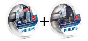 Kit Lampada Philips Crystal Vision Ultra H7 + H1 4300k