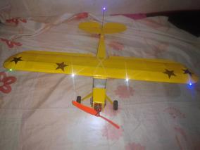 Aeromodelo Piper De Balsa Com Toda Eletrica E Led Estalado