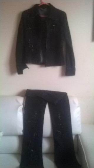 Conjunto Dama, Jeen Negro Strech Pantalon + Chaqueta