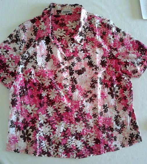 Camisas De Dama Blusas T.l-xl Seda Fina Crepe Colores