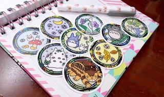 Set De 9 Stickers Circulares De Anime Mi Vecino Totoro