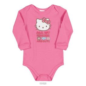 Body Infantil Bebê Menina Hello Kitty Suedine Manga Longa