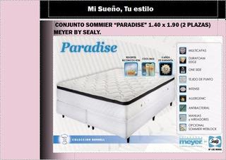 Conjunto Sommier Paradise 1.40 X 1.90 Entrega Inmediata!!