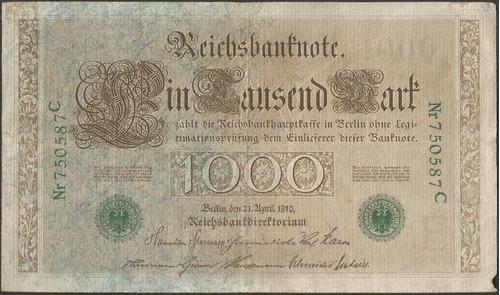 Alemania 1000 Mark 21 Abril 1910 P45a Sello Verde