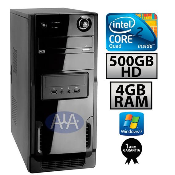 Pc Core 2 Quad / 4g Ddr2 / Hd 500 /dvd / 1 Ano Garantia