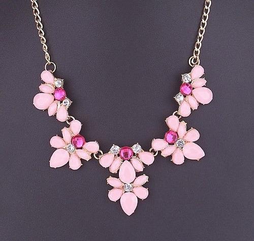 Collar Maxi Flores Con Cristales Elegante En Stock Elle851