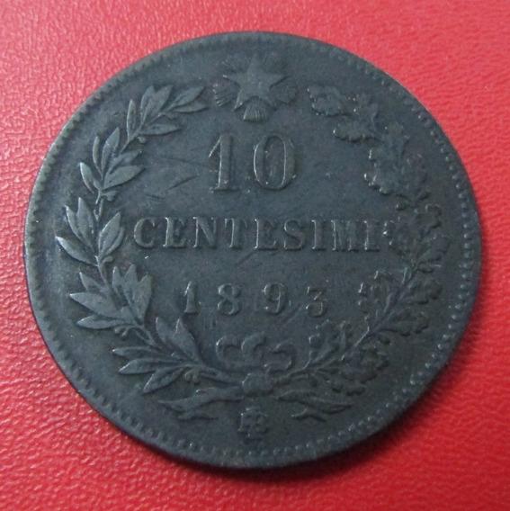 Italia Moneda Vittorio Emanuelle Ii 10 Centimos Vf 1893 1b