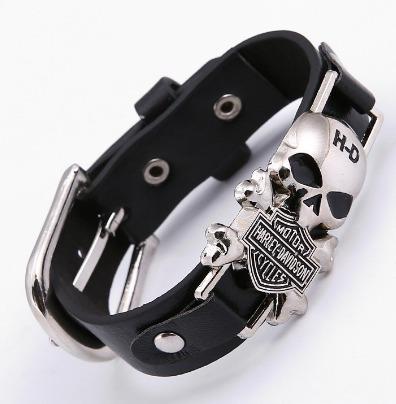 Pulseira Bracelete Couro E Aço Caveira Harley Davidson