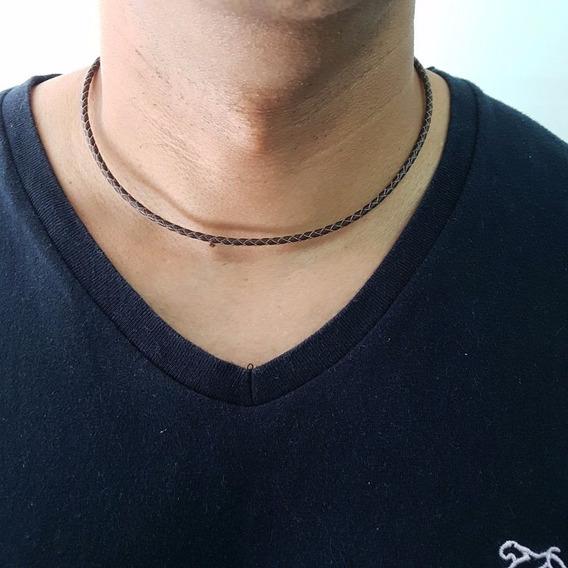 Colar Cordao Couro Trançado Legitimo Masculino Marrom 3 Mm
