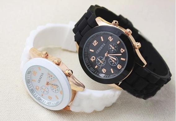Kit 4 Relógios De Pulso Feminino Geneva Pulseiras Silicone #