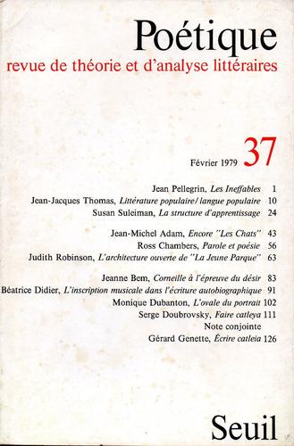 Poetique Nr 37 Revue De Théorie Et Danalyse Littéraires 30000