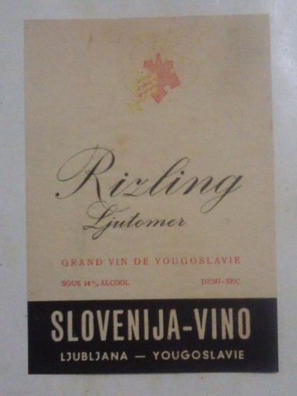 Rótulo Do Vinho Riling - Yougoslavie - Slovenija - Vino
