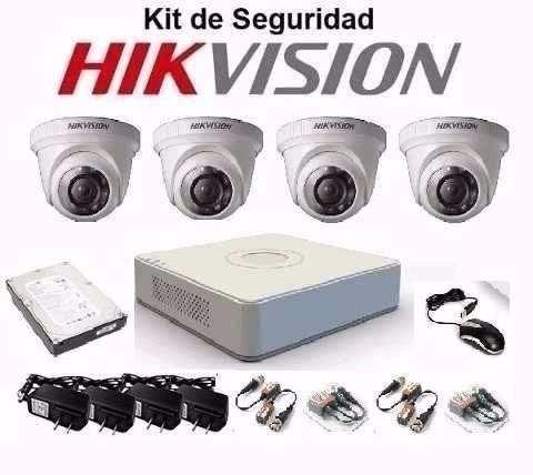 Kit De 4 Camaras  De Seguridad Hikvision Hd -entrega Inmedia