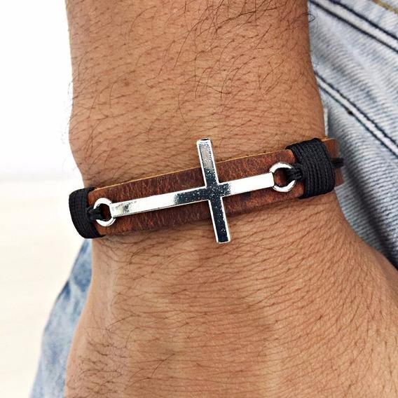 Bracelete Feminino Masculino Couro Crucifixo Ima Cruz