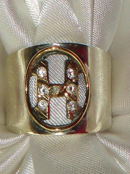 Elegante Anel Letra H Vintage Prata/vermeil/zircônias,déc80