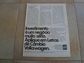 Propaganda Antiga Investimentos Volkswagen 1976 Fusca