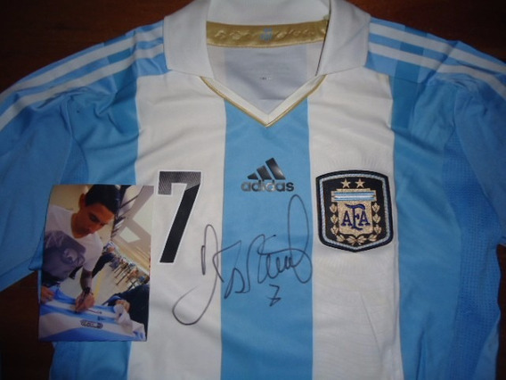 Autografiada! Camiseta Argentina Original #7 Di Maria