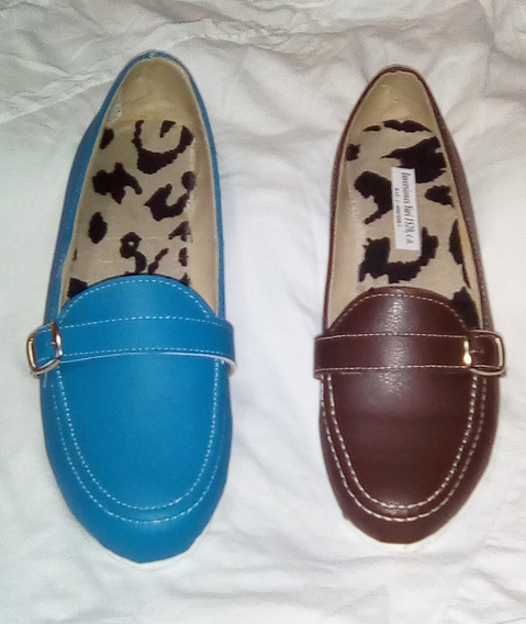 Zapatos De Dama, Mocasin Azul (talla 35).calzado Nacional.
