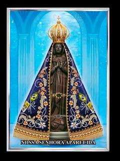 Imagem Nossa Senhora Aparecida C Moldura De Alumínio 30x40cm