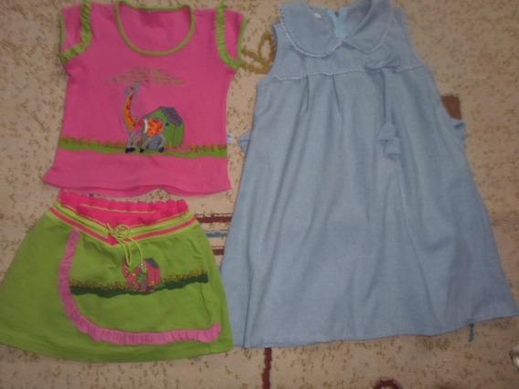 Lote Com 2 Peças Vestido E Conjunto Infantil 5 Anos