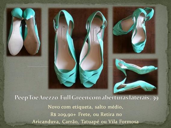 Peep Toe Arezzo Full Green Com Aberturas Laterais . 39