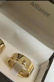 Par Aliança Folheada Ouro 3 Camadas Casamento Noivado 8mm