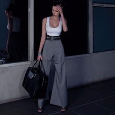 f2c5cba38 Calça Pantalona Feminina Muito Elegante Cintura Alta Cinza - R$ 195 ...