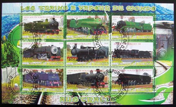 Djibouti Trenes, Bloque 9 Sellos Australia 2010 Usado L6684