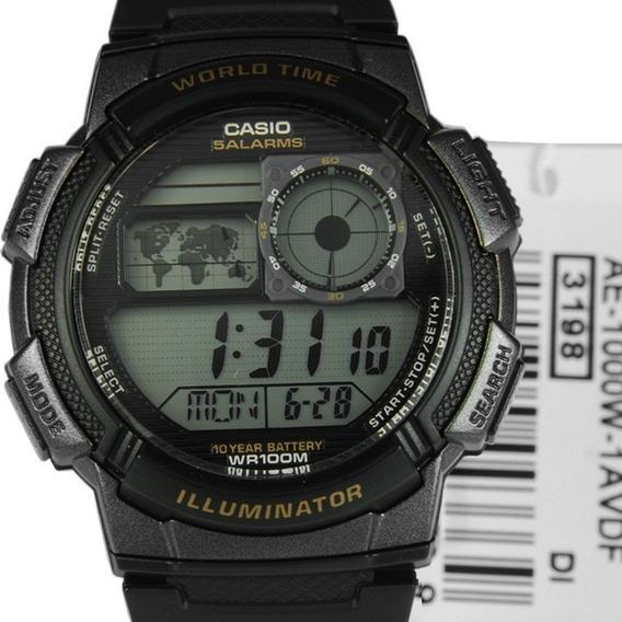 Relógio Casio Ae-1000w-1avdf Caixa Preta, Multi Alarme