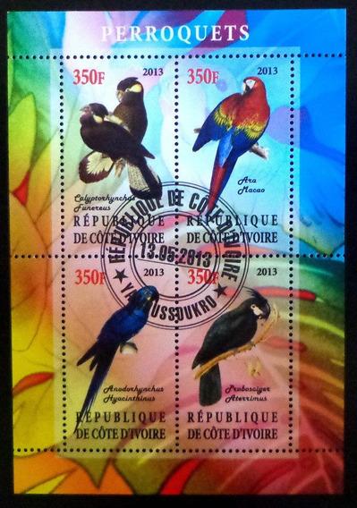Costa Marfil Aves Bloque 4 Sellos Papagayos 2013 Usado L6966