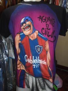 Remera Camiseta San Lorenzo Cazador Comic Pintada Mano T M/l