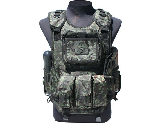 Chaleco Tactico Deluxe Digicam Gxg Y 4 Pods Paintball Gotcha