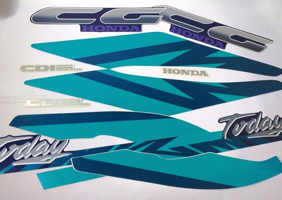 Adesivo Tanque Cg125 Today 94 Azul Completo Modelo Original