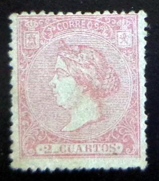 España, Sello Yv. 79 Isabel Ii 2 Cuartos 1866 Nuevo L7415