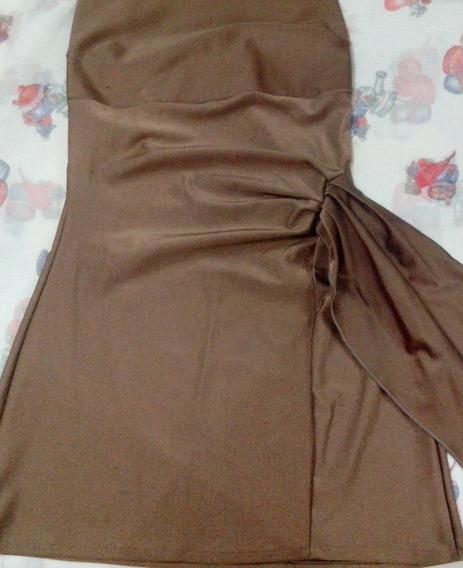 Vestido Lycra Strapless Tostado Corto