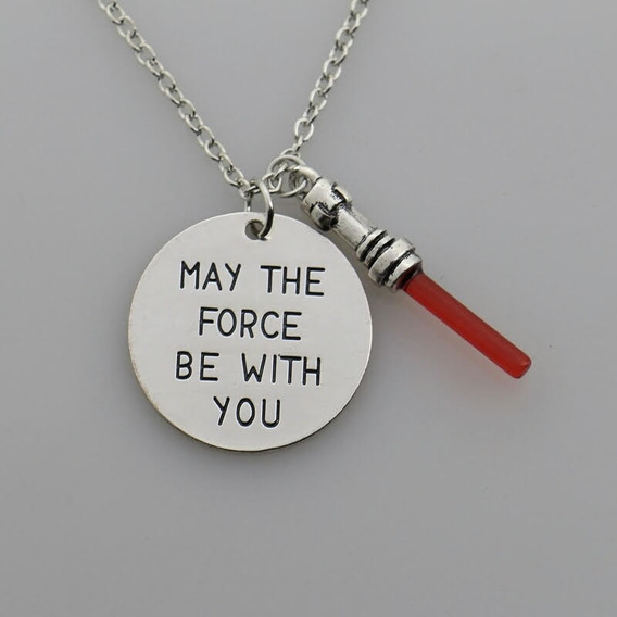 Colar Star Wars - May The Force Be With You - Sabre Vermelho