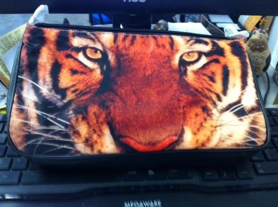 Bolsa Clutch Com Estampa De Tigre