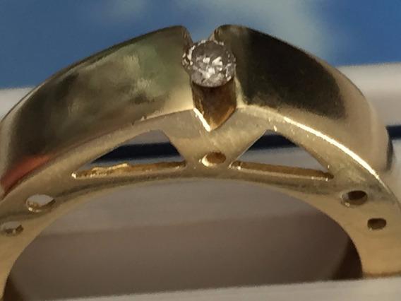 Anel Em Ouro 18k-750-com Brilhantes-aro:16-5.1gr-larg.5mm.