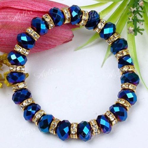 Linda Pulseira Prateada Strass Pedras Cristal Azul Bolinhas