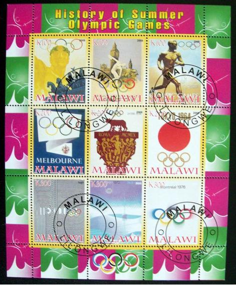 Malawi Deportes, Bloque 9 Sellos Hist Jj Oo 2008 Usado L6696