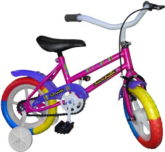 Bicicleta Niñas Rodado12 Con Rueditas Siambretta