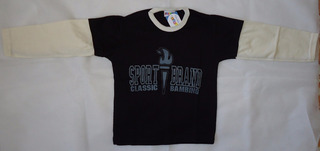 Terno Camisa Buso Para Niños Color Negro Con Crema Talla 2