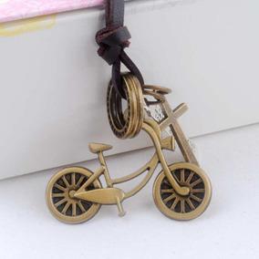 Colar Couro Cordão Ajustavel Unisex Bike Bicicleta Vintage