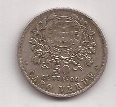 Cabo Verde Escasa Moneda De 50 Centavos Año 1930