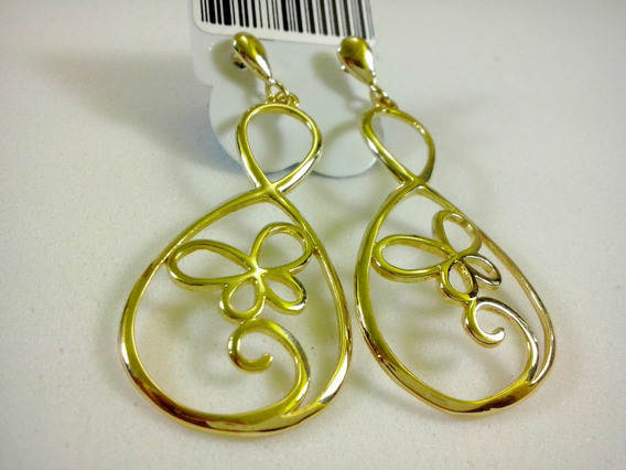 Brinco 18k Folheado Ouro Luxo Mulheres Moda Simples Natural