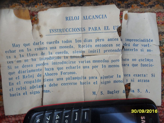 Antiguo Folleto Indicativo Reloj Alcancia Bagley & Cia S. A.